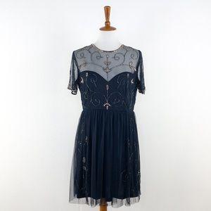 Boohoo Navy Blue Sparkle Sequin Detail Dress